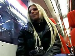 Blonde amateur euro babe picked up and rammed for cash