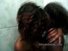 Naughty black babe Aisha gives African gf sweet pussylicking