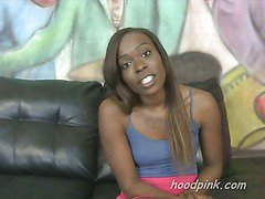 Interview with an ebony amateur who thinks she can handle rough sex on camera