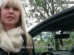 Pretty amateur blonde Czech girl railed in the backseat by stranger