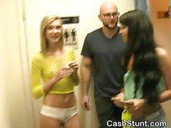Blonde And Brunette Girls Sucking Dick In Money Talks Stunt