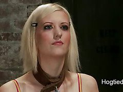 Busty blonde tits bound and weighted and mouth taped