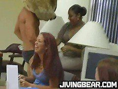 Dancing bear gets office party wild