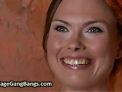 Chained babe gangbang fucked by her husband and his friends in basement
