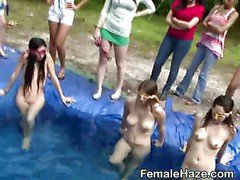 College Sorority Pledges Play Naked Together In A Pool