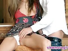 Petite blonde teen Anjelica mouth fucked and anal wrecked