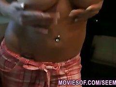 Big tits blonde wife gets filmed masturbating in the kitchen