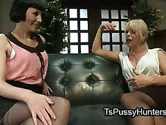 Blonde shemale fucks tied up brunette in pussy and asshole