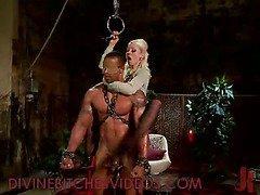Extreme bondage guy fucked and flogged by blonde mistress