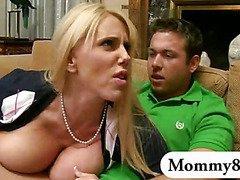 Big boobs blonde stepmom seducing younger dude when a teen came along