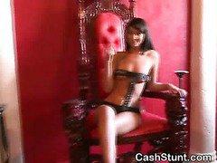 Very Hot Topless Girls Whip Guy In Money Talks Stunt