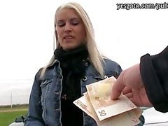 Pretty blonde Czech girl paid for hardcore sex with stranger