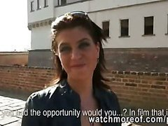 Glamour euro hottie pull down her pants and fucks a stranger in public