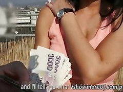 Big boobs amateur Czech babe  payed and cock riding outdoor