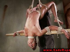 Hogtied ebony submissive in BDSM session