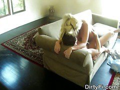 Cheating Blonde Housewife Caught Riding Dick On Spy Cam