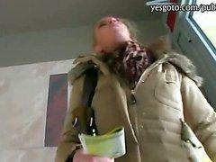 Huge tits amateur blonde Czech slut stuffed at her home