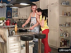 Housekeeper sucks fat dildos and cock in kitchen