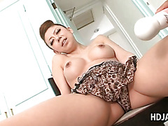 Busty japanese loves getting her cunt vibrated to orgasm