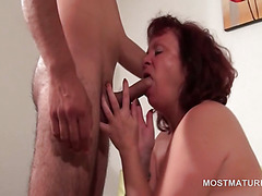 Redhead BBW mature blowing hard shaft with lust