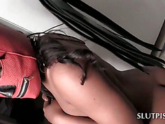 Piss slave naked ebony playing doggy for her master