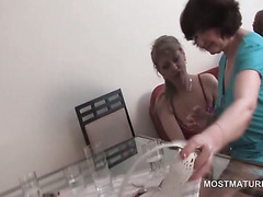 Turned on slutty matures fight over cock in gangbang