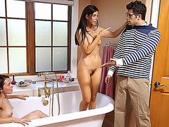 Super sexy stepmom India Summer has hot threesome with stepdaughter