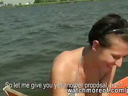 Slutty real amateur chick sucks and fucks a strangers cock on a boat
