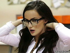 Horny Secretary Plays With Her Pussy At Work