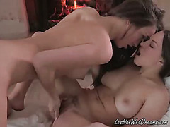 Hot Brunette Licks Her Roommates Pussy While Fingering It