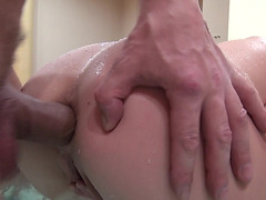 Hot euro blonde babe anal fucked in the jacuzzi for cash