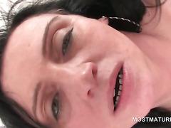 Mature bi tramp fucks cunt with strap-on in orgy