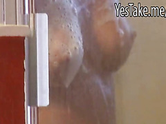 Hot girl spied on taking a shower then nailed and facialed