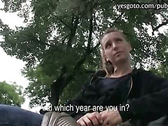 Pretty amateur eurobabe pussy pounded with stranger in public