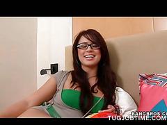 Redhead big titted girl tugging loaded big shaft