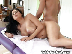 Big Titty Brunette Fucked In Face And Pussy On Table