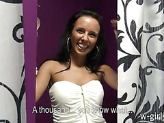 Skinny amateur girl from a boutique fucked for money