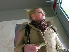 Busty blonde amateur babe gets payed to sucks cock and fuck