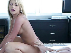 Tightest ass of blonde rides cock and gets doggystyled hard