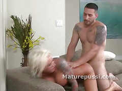 Big tittied blonde hard doggystyle bang of her older pussy from behind