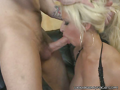 Slutty Blonde Gets Her Mouth Fucked Hard
