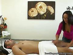 Asian Masseuse Sucks Her Client Off