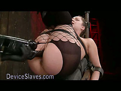 Strapped to reclining board babe fucked