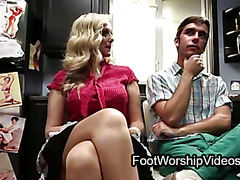 Barefoot blond milf fucks guy in kitchen