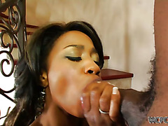 Hot black slut loves giving blowjobs