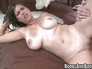 Brunette chick gives blowjob before fucking
