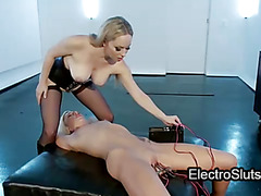 Clamped and electro shocked cunt torture