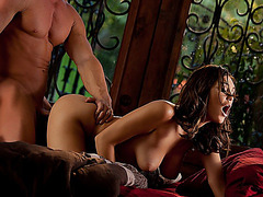 Stunning brunette babe Holly Michaels fucked deep on the bed