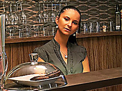 Real amateur pretty chick Marie Getty analyzed in the bar for cash