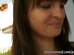 Shaved muff amateur fucked and facialed for fast money